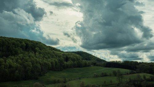 kraštovaizdis, dramatiškas, dangus, Dramatiški debesys, pobūdį, dramos, dramatiškas dangus, Twilight, medis, žalias, kalnų, gražus, peizažai, 4 k