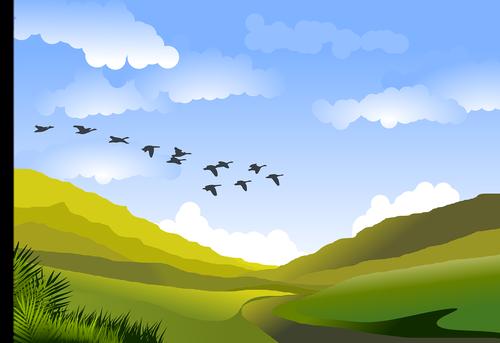 kraštovaizdis, kalnai, debesys, horizontas, kalvos, žalias, aplinka, ramybė, atsipalaidavimas, augalai, augmenija, paukščiai, mėlyna, Grožio, gyvūnai, Nemokama iliustracijos