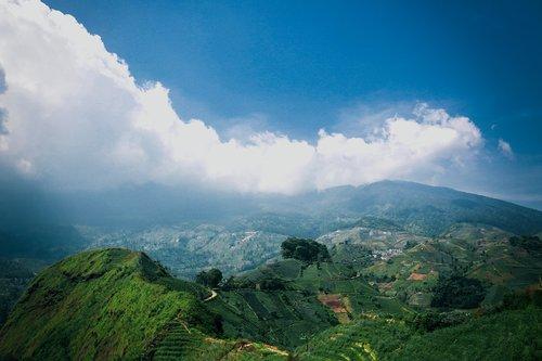 kraštovaizdis, pobūdį, ryžių laukai, dangus, kalnų, terasos, debesys, peizažas, kalvos, terasering, šviesus, vidurdienį, vasara, mėlynas