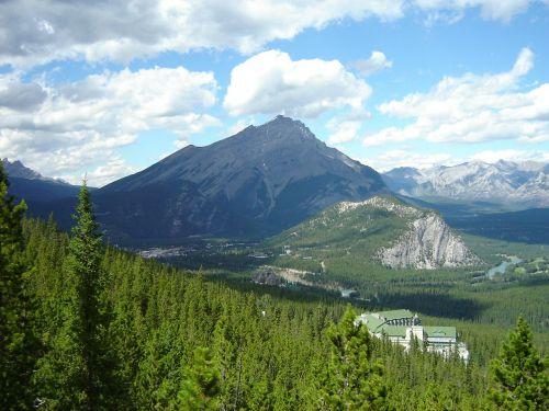kraštovaizdis,vaizdingas,kalnai,dangus,debesys,medžiai,atostogos,lauke,kaskados kalnas,tunelio kalnas,Banff Springs viešbutis,lankas upė,Rimrock kurorto viešbutis,banff,Alberta,Kanada