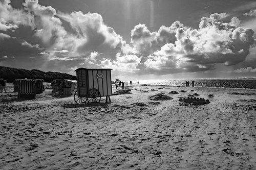 Langeoog, sala, Šiaurės jūra, debesys, papludimys, vandenys, juoda ir balta fotografija, pakrantės, SW, ai W