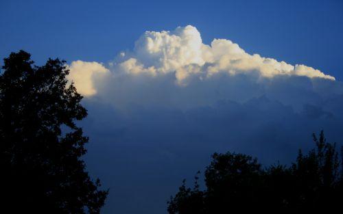 debesis, didelis, balta, cumulus, tamsintas, dangus, mėlynas, medžiai, didelis piko debesis