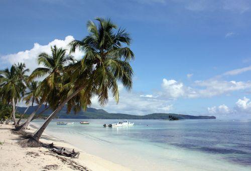 las galeras,samana,Dominikos respublika,karibai,palmės,palmių paplūdimys,žvejybos laivas,boot,jūra,атлантический,šventė,smėlio paplūdimys Smėlėti papludimiai,delnas,svajonių šventė,papludimys,atostogų kryptis,plaukti
