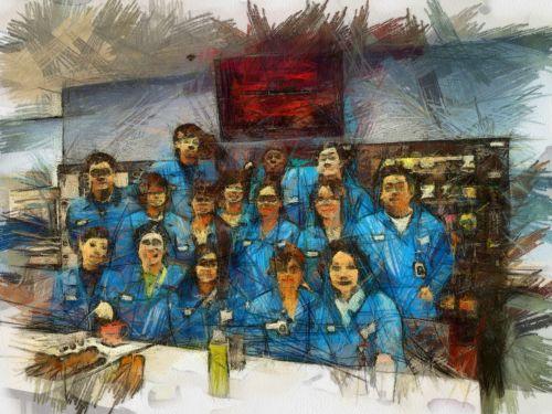 išėjimas į pensiją, darbas, paskutinis, diena, žmonės & nbsp, draugai, bendradarbiai, darbuotojai, eskizas, pieštukas, dažymas, paskutinis susitikimas