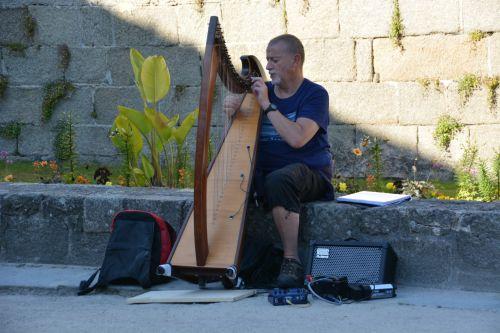 muzika, muzikantas, arfa, gatvė, miestas, menininkas, vyras, charakteris, muzikantas