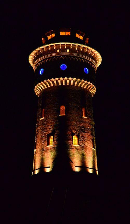 LED apšvietimas,vandens bokštas,bokštas,borkum,vandens tiekimas,vandens saugykla,žiburių žaidimas
