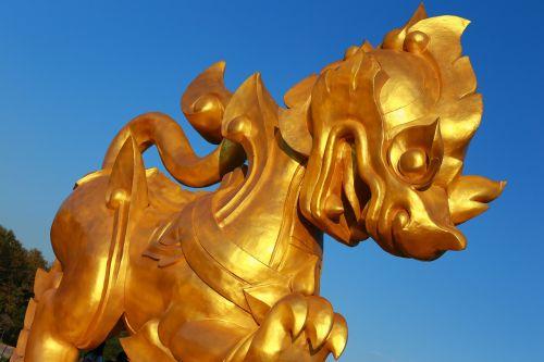 leo,statula,Tailandas,auksas