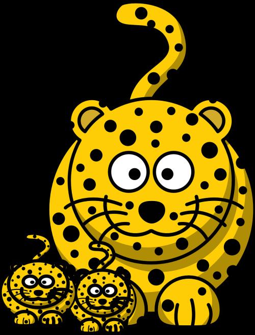 leopardas,Gepardas,medžioklė-leopardas,kūdikis,mama,gyvūnas,animacinis filmas,priekinis,portretas,veidai,uodegos,nemokama vektorinė grafika