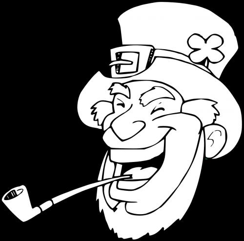 leprechaun,patrick,saint,juokiasi,airiškas,laimingas,dobilas,vamzdis,barzda,skrybėlę,nemokama vektorinė grafika
