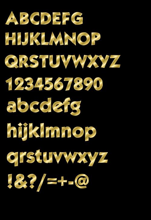raidės,abėcėlė,numeriai,rinkiniai,auksinis,skaitmenys,mažosios raidės,didžiosios raidės,simboliai,nemokama vektorinė grafika