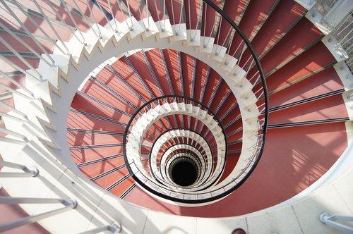 lygis, architektūra, laiptų, spiralė, atsiradimas, laiptinė, palaipsniui architektūra, raudonas