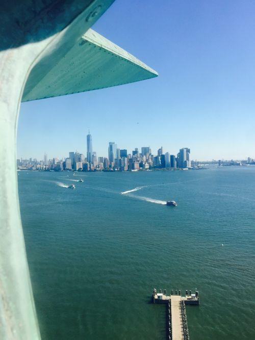 statula & nbsp, laisvė, naujas & nbsp, york & nbsp, miestas, karūna, vaizdas, Hudson & nbsp, upė, brooklyn & nbsp, tiltas, laisvė & nbsp, bokštas, Manhatanas, laisvė, sala, naujas & nbsp, York, Naujojo Yorko miesto laisvė