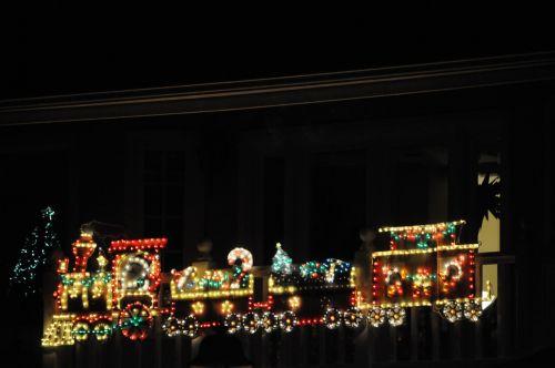 traukinys, žibintai, Kalėdos, xmas, šventė, apdaila, cabooth, apšviesta, švytėjimas, apšviesta Kalėdų eglu apdaila