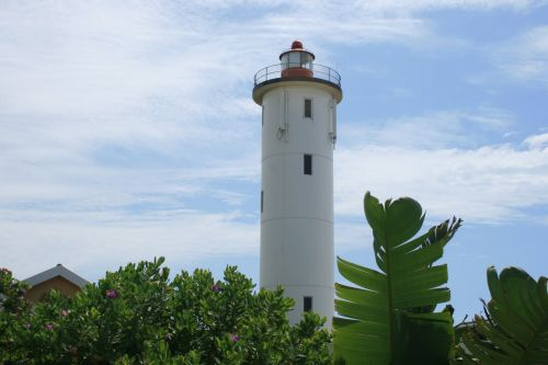 švyturys, bokštas, švyturys, įspėjimas, jūrų, jūrinis, dangus, delnas, švyturys su palmėmis