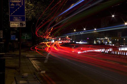 žibintai, miestas, šviesus, apšviestas, blur, naktis, žėrintis, apšviestas, technologija, Londonas, Knightsbridge