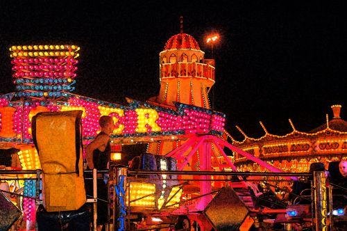 šviesus, linksma, funfair, karuselė, žibintai, šviesus, naktis, Nottingham, žąsis, šviestuvai mugėje