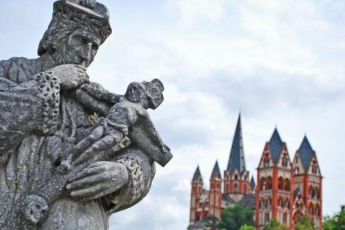 limburgas,Dom,limburger dom,Hesse,bažnyčia,bokštas,senas launo tiltas,skulptūra,nepomuk