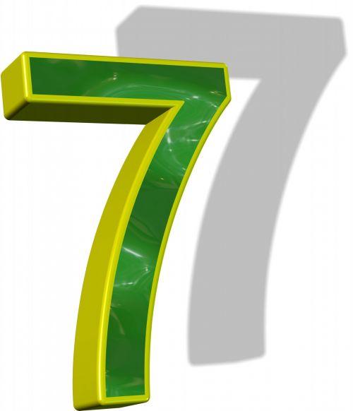 3d, numeris, septyni, 7, skystas, kalkės, žalias, tekstūra, laimingas, geltona, kontūrai, šešėlis, izoliuotas, balta, fonas, loterija, žaisti, simbolis, kalkės 7