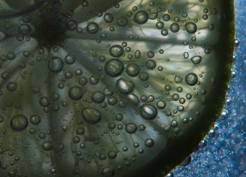 kalkės, vanduo, burbuliukai, makro, šviesa, išsamiai, fonas, spalva, mėlynas, vaisiai, kalkės su burbuliukais