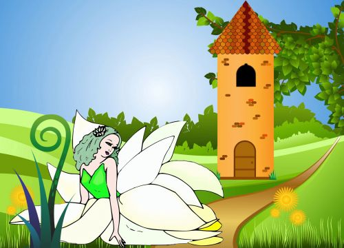 fėja, bokštas, pilis, pasaka, fantazija, Elfas, pavasaris, graži fėja