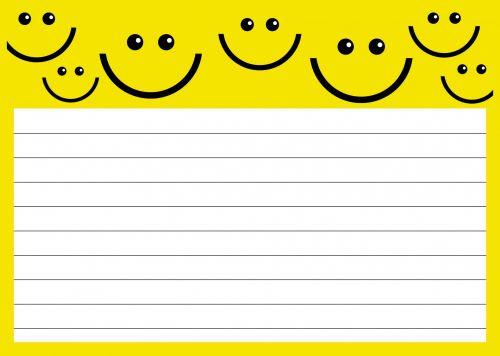 Iliustracijos, clip & nbsp, menas, iliustracija, grafika, banknotai, Pastaba & nbsp, puslapis, pastaba, pastaba & nbsp, popierius, fonas, puslapis, sienos, rėmas, kopijuoti & nbsp, erdvę, tuščias, popierius, išlenktas & nbsp, popierius, animacinis filmas, šypsena, laimingas, veidas, šypsosi, geltona, lakštinis popierius