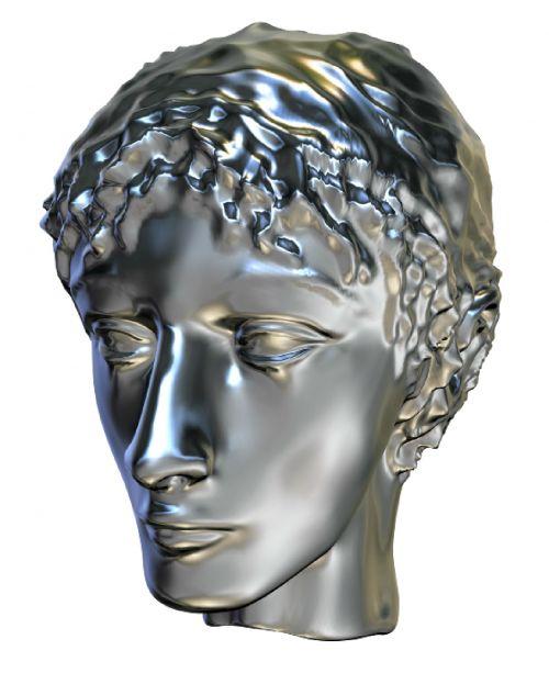 3d, skulptūra, galva, moteris, skystas, metalinis, blizgantis, izoliuotas, balta, fonas, skystas moteris