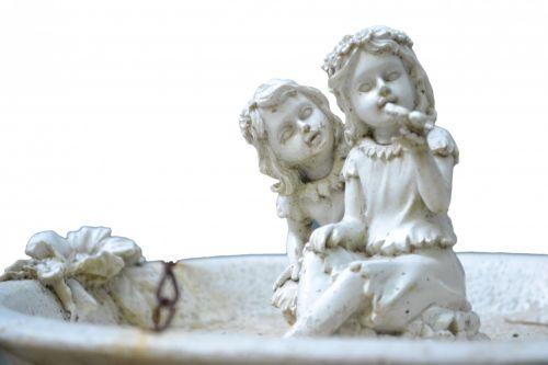 du, mažai, angelai, skulptūra, izoliuotas, balta, fonas, akmuo, maži angelai