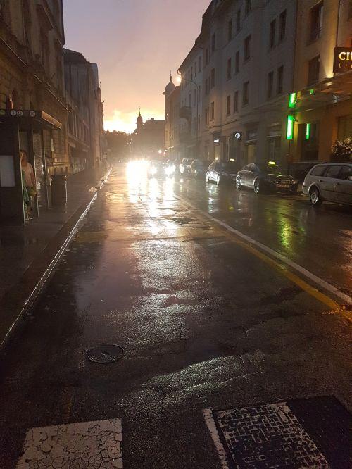 lietus, vasara, ljubljana, slovenia, miestas, gatves, Liublijana / slovenia lietūne