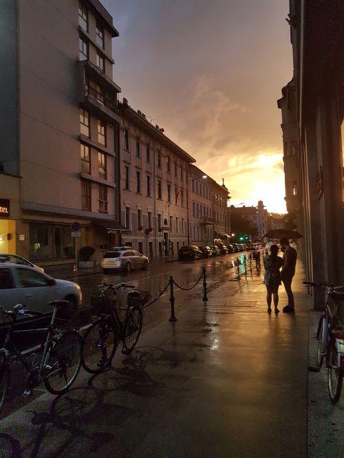 vasara, lietus, ljubljana, slovenia, miestas, gatvė, vasario mėn. Liublijana / slovenia