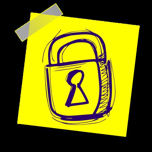 užraktas,saugumas,apsauga,saugumas,privatumas,kompiuterių saugumas,privatus,ženklas,pastaba,geltona lipdukė,rašyti pastabą,biuras,simbolis
