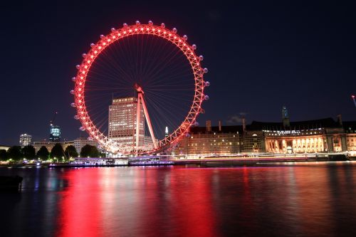 Londono akis naktį,Londono akis per Thamesas,Londonas,pritraukimas,didelis,Britanija,miestas,kruizai,Anglija,Europa,akis,laisvalaikis,naktis,prieplauka,atspindys,upė,thames,turizmas,vanduo,Westminster