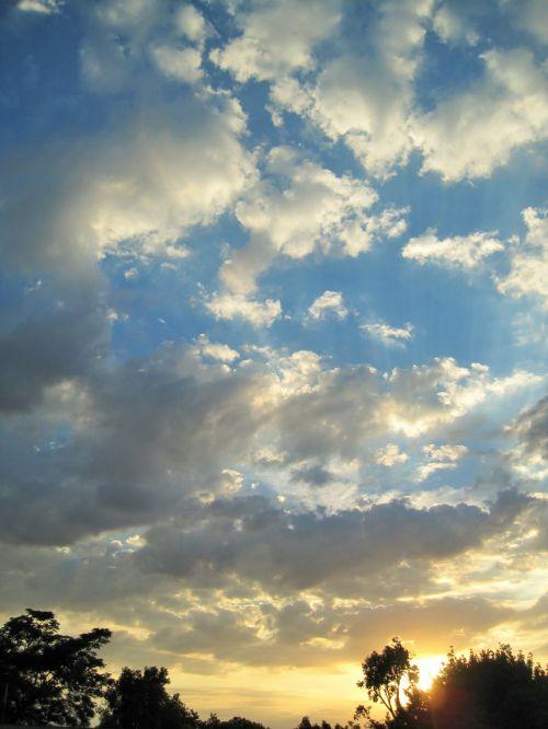 debesis, laisvas, balta, tamsintas, saulėlydis, laisvas debesys sauname