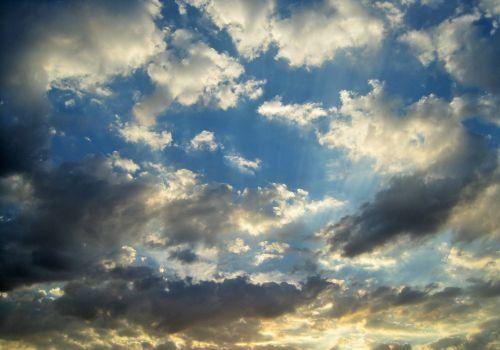 dangus, mėlynas, debesis, laisvas, balta, šešėlis, saulėlydis, laisvas debesys mėlyname danguje