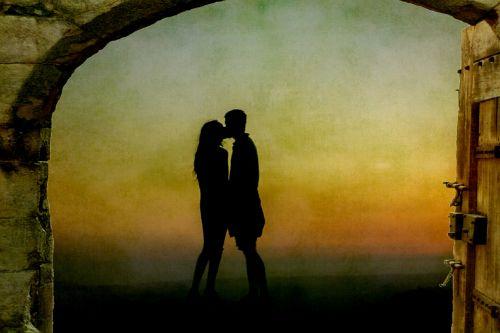 mėgėjai, bučiavosi, siluetas, romantiškas, pora, jaunas, vyras, moteris, mergaitė, Moteris, Patinas, meilė, juoda, vartai, Laisvas, viešasis & nbsp, domenas, mėgėjai bučiavosi siluetu