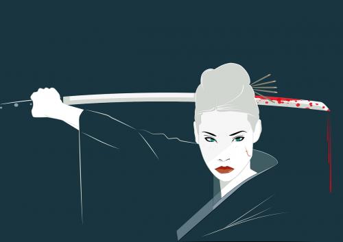 lucy liu,Katana,o-ren ishii,kimono,Japonija,nužudyti Bilą,kraujas,iliustracija,minimalus,minimalistinis,vektorius,Kardas,piešimas,rytas,atkreipti,dizainas,skaitmeninis,personažai,moteris,kovotojas,Yakuza,kovoti,kovų menai,mergaitė,karys,žavesys,mirtini viperių nužudymo būrys,crazy 88s,nemokama vektorinė grafika