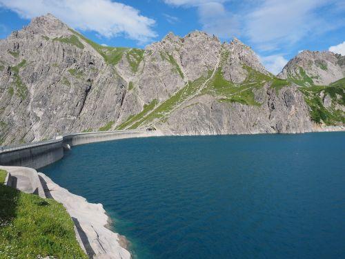 luenersee,užtvankos,schafgafall,vanduo,mėlynas,brandnertal,vorarlbergas,austria,kalnai,Alpių,ežeras,Alpių ežeras,kalninis ežeras,zaluandakopf,lüner ežeras,Douglaso namas