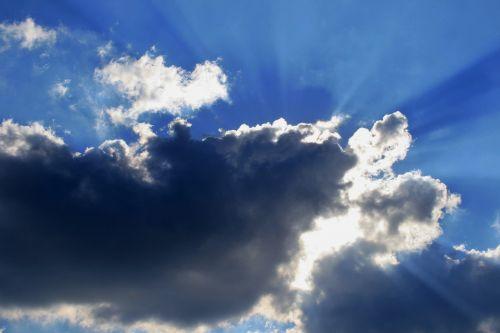 debesis, saulė, sijos, šviesus, šviesus debesys