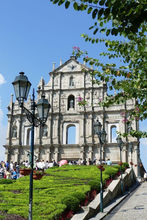 Macau,Kinija,bažnyčia,portugal,kolonija,pastatas,fasadas,istoriškai,orientyras,lankytinos vietos,architektūra,barokas,laiptai,makao,žibintas