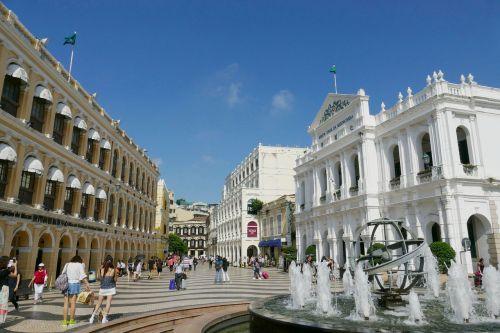 Macau,Kinija,Senamiestis,portugal,kolonija,pastatas,fasadas,istoriškai,orientyras,lankytinos vietos,architektūra,makao,erdvė,fontanas,centro