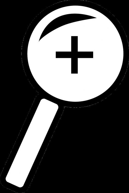 padidinamas,objektyvas,įrankis,priartinti,pliuso ženklas,piktograma,didintuvas,optinis,mokslas,ieškoti,priartinti,didina,nemokama vektorinė grafika