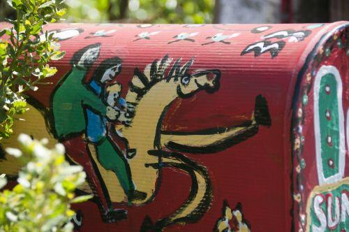 pašto dėžutės, paštas & nbsp, pašto dėžutę, paštas & nbsp, dėžutės, Paštas, spalvinga, meno, menas, tapybos, mielas, Šalis, kaimas, Laisvas, viešasis & nbsp, domenas, raudona, arklys, pašto dėžutės menas