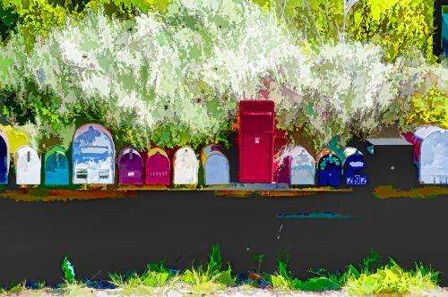 pašto dėžutės, paštas & nbsp, pašto dėžutę, paštas & nbsp, dėžutės, Paštas, spalvinga, meno, menas, tapybos, mielas, Šalis, kaimas, Laisvas, viešasis & nbsp, domenas, pašto dėžutės