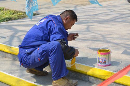žmonės, vyras, darbuotojas, priežiūra, darbo & nbsp, dažymas, šlapias & nbsp, dažymas, dažymas, saugumas, parkas, techninės priežiūros darbuotojas