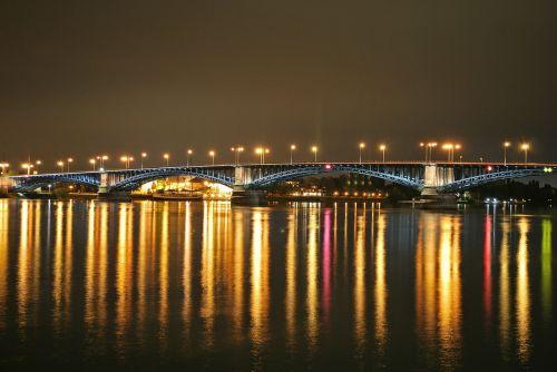 Mainz,theodor heuss tiltas,naktinė fotografija,naktinė nuotrauka,tiltas,miestas,naktis,apšvietimas,žibintai,rinas