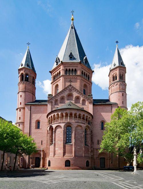 Majesco katedra,Mainz,Sachsen,Vokietija,Europa,senas pastatas,Senamiestis,lankytinos vietos,kultūra,istorija,Dom,aukštas dom,St Martinas