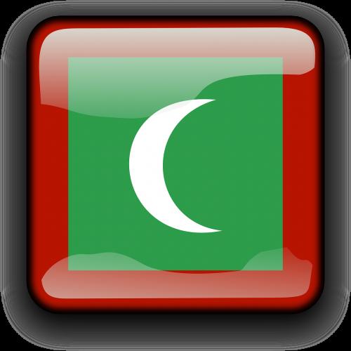 Maldyvai,vėliava,Šalis,Tautybė,kvadratas,mygtukas,blizgus,nemokama vektorinė grafika