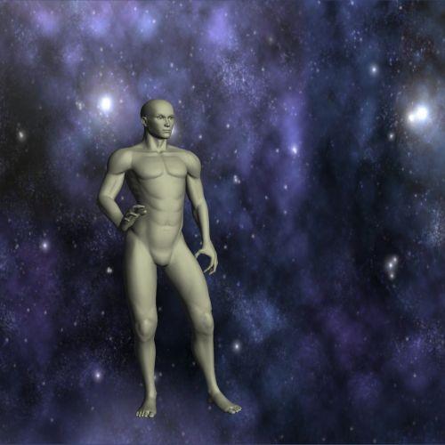 Patinas, Manekenas, izoliuotas, visata, žvaigždės, pilka, 3d, skulptūra, plikas, vyras, stovintis, kelia, vyrų manekenas ir visata