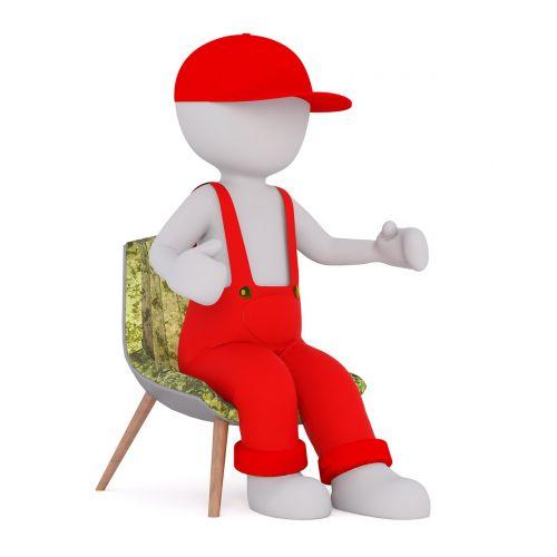 vyrai,3d modelis,izoliuotas,3d,modelis,Viso kūno,balta,3d vyras,3d modelis,baltas vyriškas,sėdėti,kėdė,raudona,kombinezonai,dangtelis
