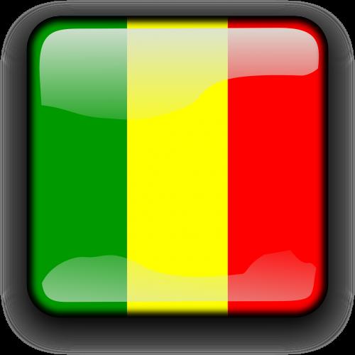 Malis,vėliava,Šalis,Tautybė,kvadratas,mygtukas,blizgus,nemokama vektorinė grafika