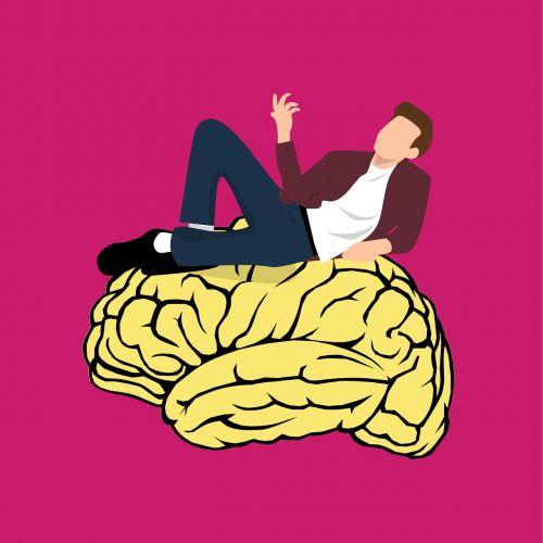 vyras, galvoti, gulintis, smegenų ikona, protas, mąstymas, smegenų audra, smegenų logotipas, smegenų galia, smegenys, neuronai, be honoraro mokesčio
